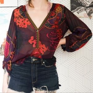 Hale Bob Silk sheer printed V-neck blouse small
